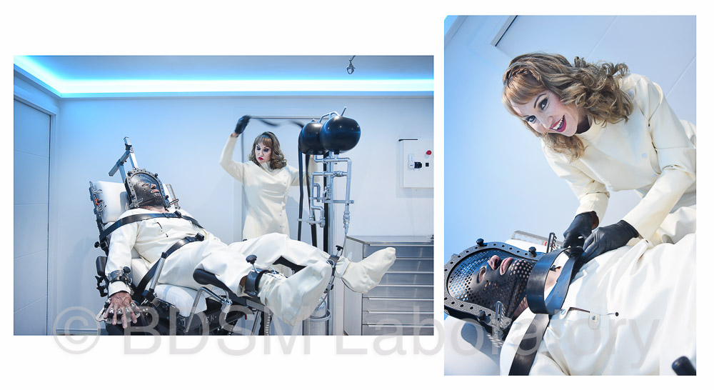two photos of Mistress Miranda BDSM sessions at The BDSM Laboratory securing restraints